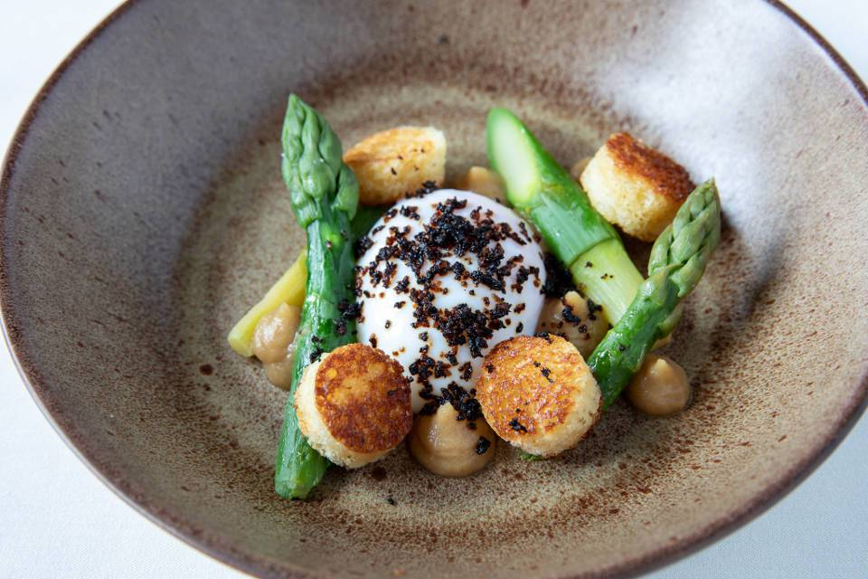 Macleods Restarurant Asparagus Dish at Coniston Hotel