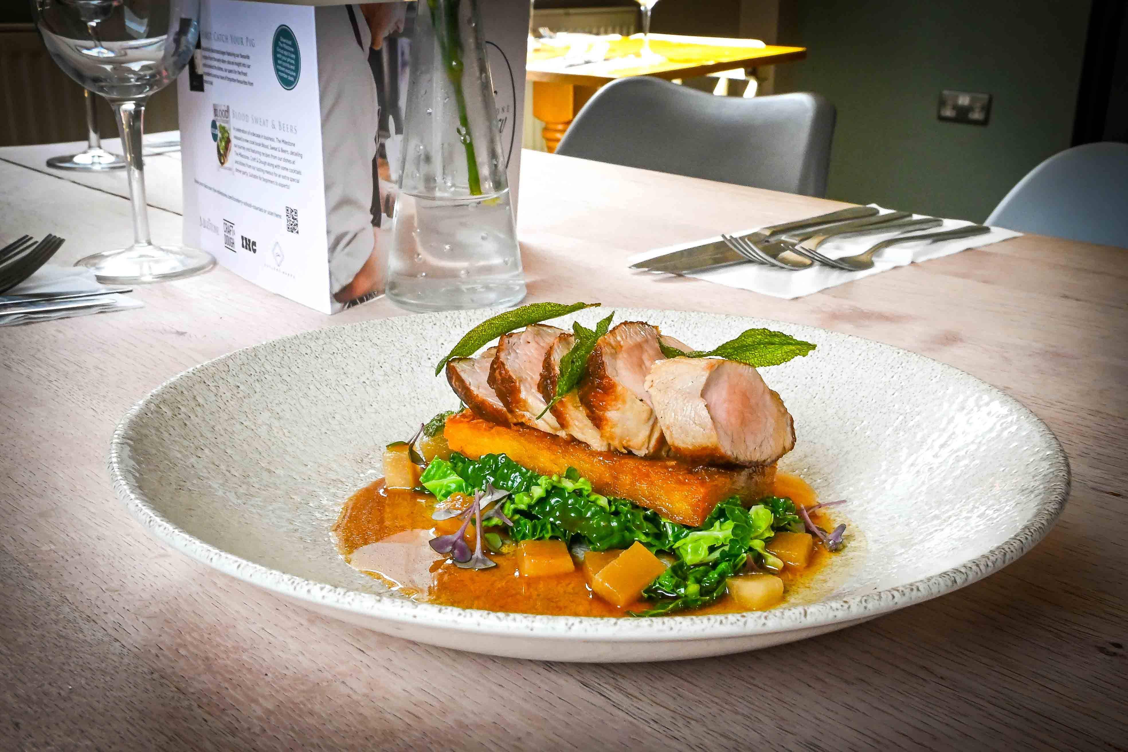 Pork tenderloin main dish at The Milestone, Sheffield