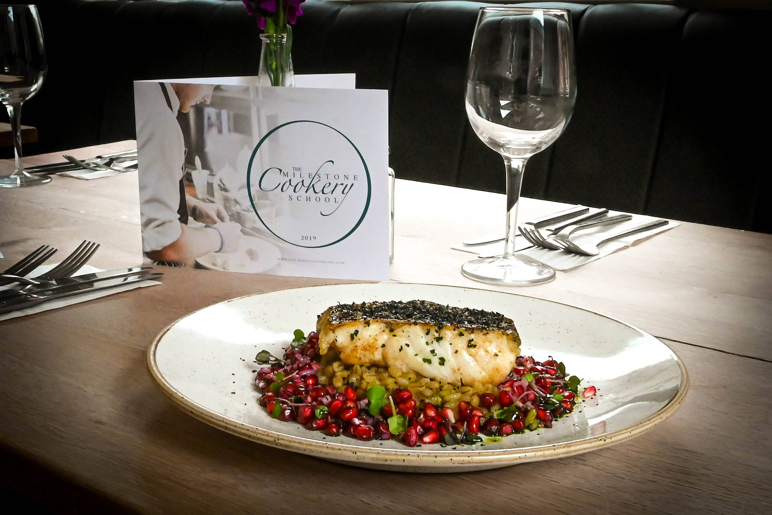 The Milestone Sheffield Halibut with pearl barley risotto and pomegranate