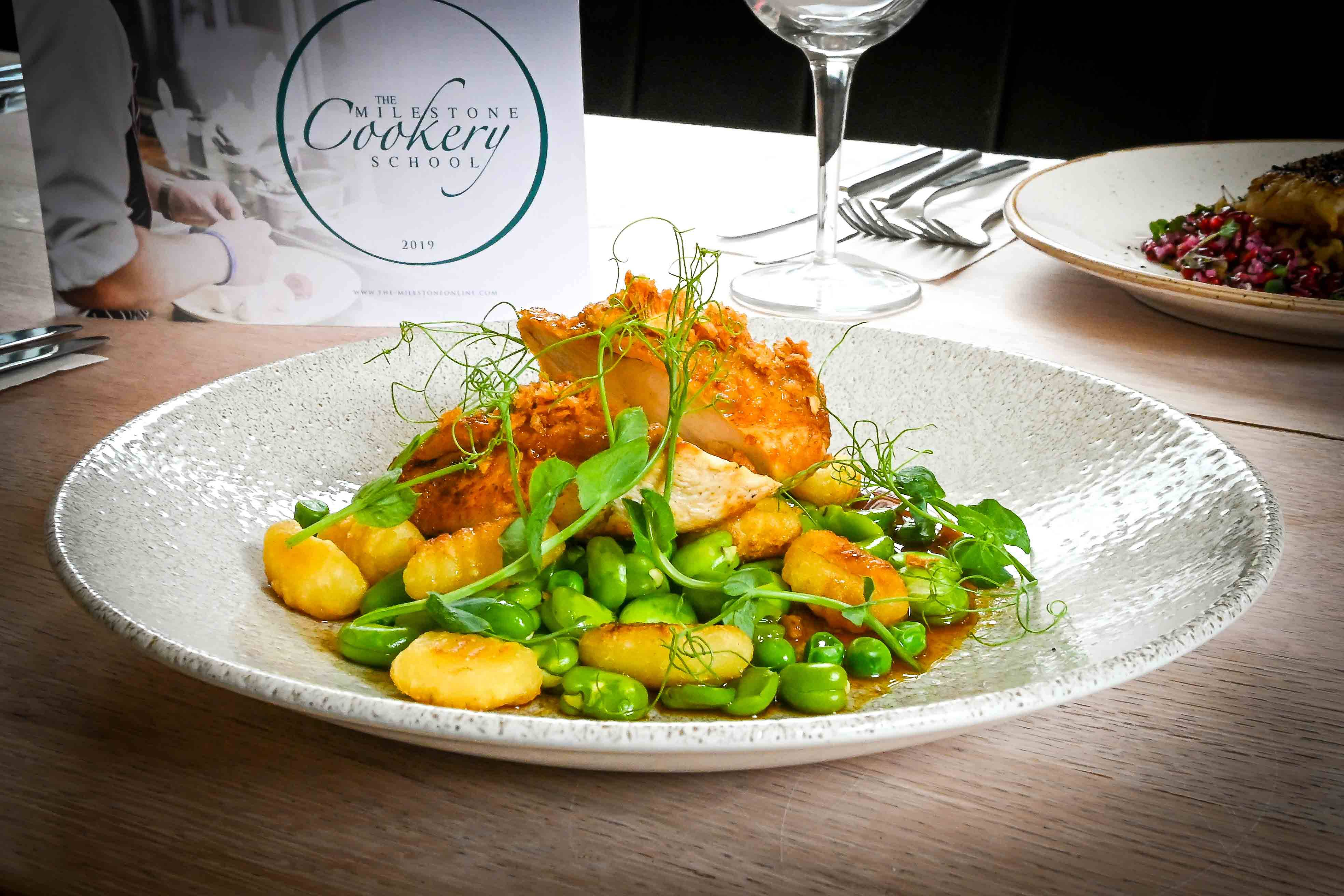 The Milestone Sheffield Chicken breast with gnocchi and broad beans