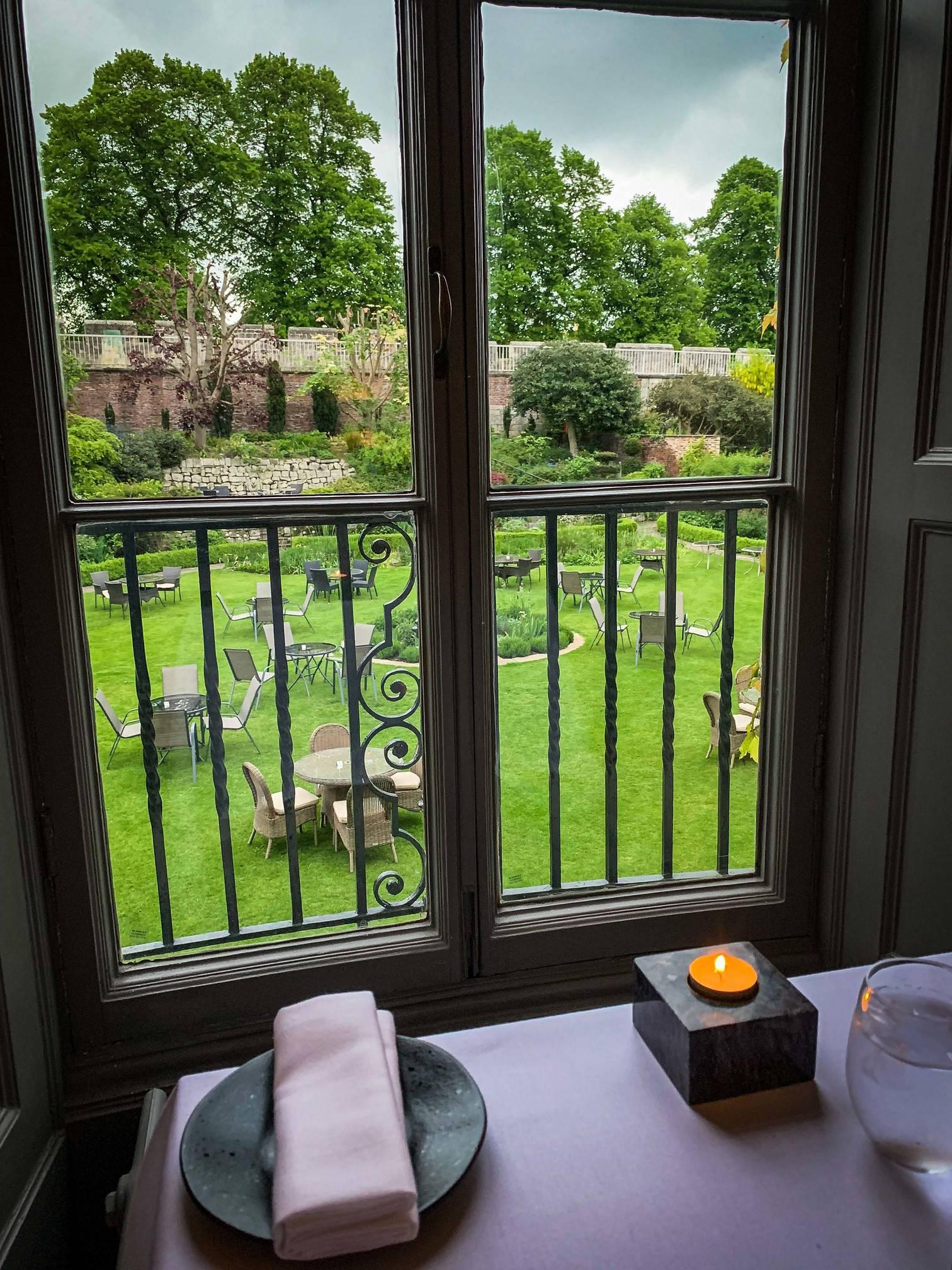 Beautiful gardens. Bow Room Restaurant at Grays Court York