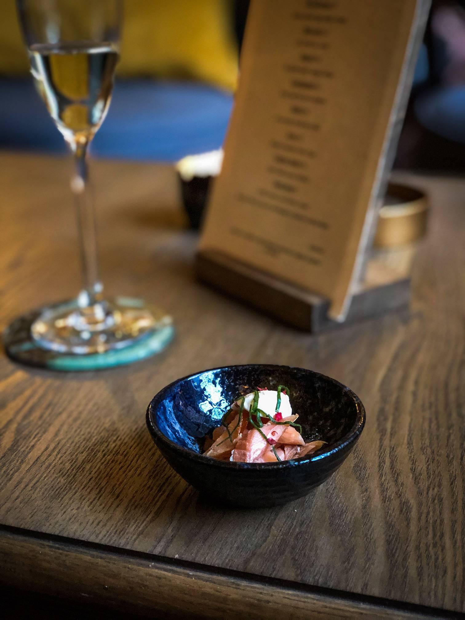 Hot smoked salmon. Bow Room Restaurant at Grays Court York
