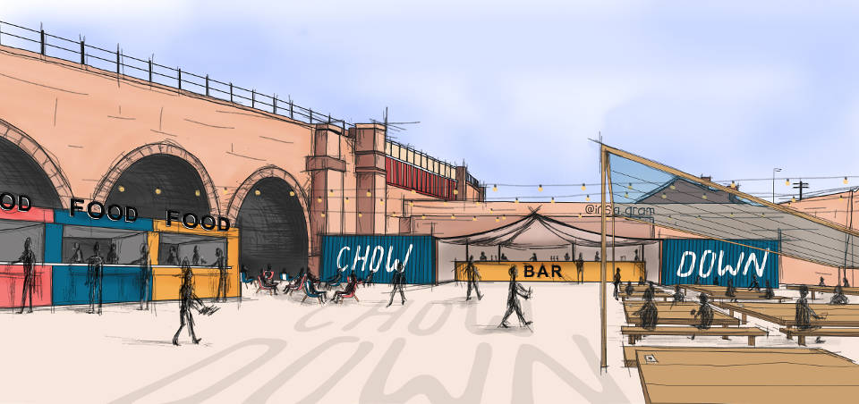 Chow Down Temple Arches Leeds artist impression