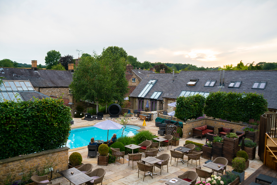 Feversham Arms Hotel pool and outside seating