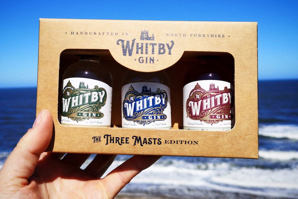 Whitby Gin 3 masts gift set by the sea landscape
