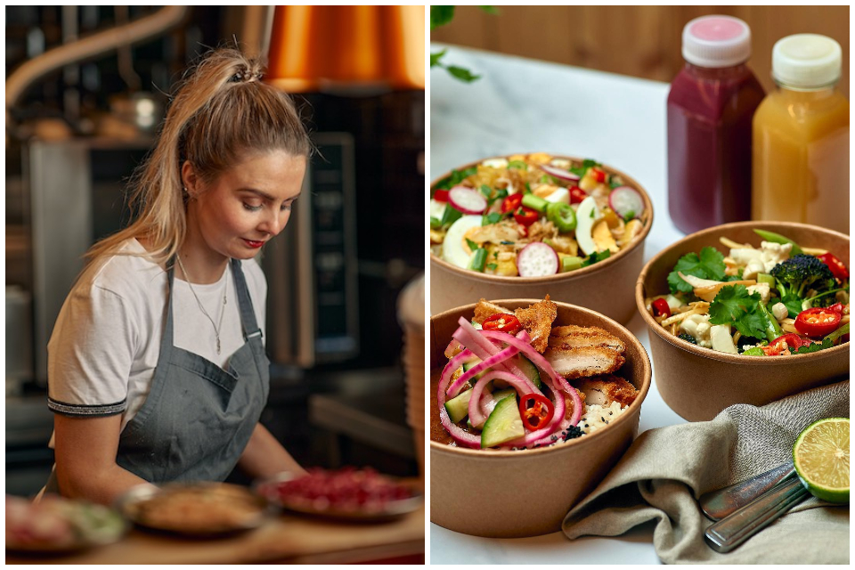 Just The Fox Kitchen Founder Natalie Firth & sample dishes