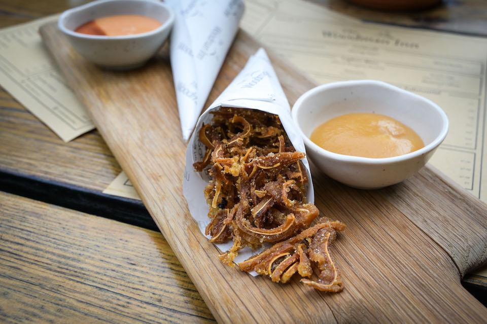 Woodman Inn Thunderbridge crispy pigs ears bar snacks